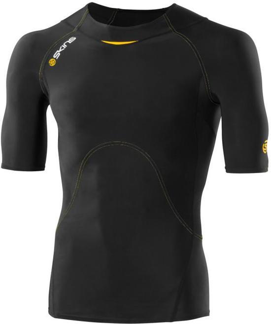 Skins A400 Men's - Compressieshirt - Short Sleeve - Maat S - Zwart/Geel