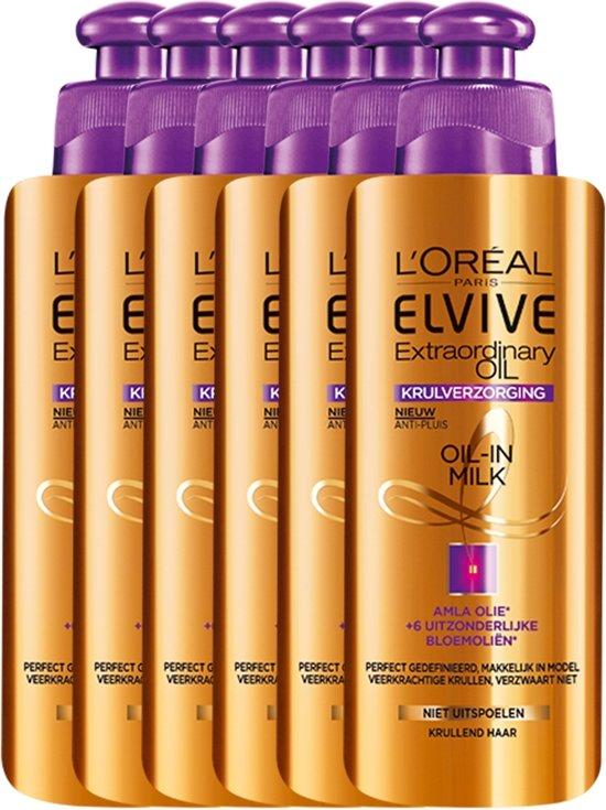 L'Oréal Paris Elvive Extraordinary Oil Haarcrème - 6 x 200 ml - Krullend Haar - Voordeelverpakking