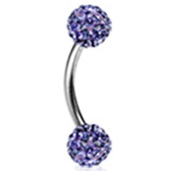 Rook piercing Ferdio multi crystal paars ©LMPiercings