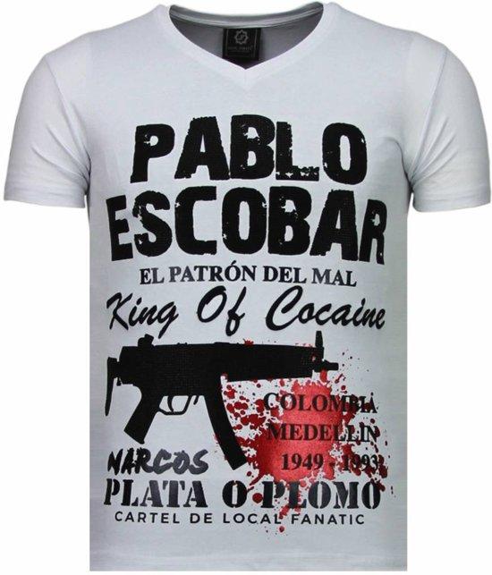 Local Fanatic Pablo Escobar Narcos - Rhinestone T-shirt - Wit - Maten: L