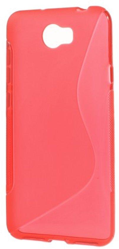 Huawei Y5 2 Hoesje Flexibel Rood met S-Vorm Design in Ophoven