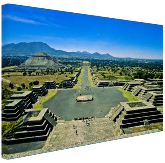 Teotihuacan  Mexico Canvas 60x40 cm - Foto print op Canvas schilderij (Wanddecoratie woonkamer / slaapkamer)