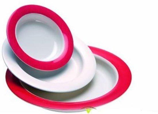 Servies Melamine Klassik 22 cm dessertbord - wit met rode rand