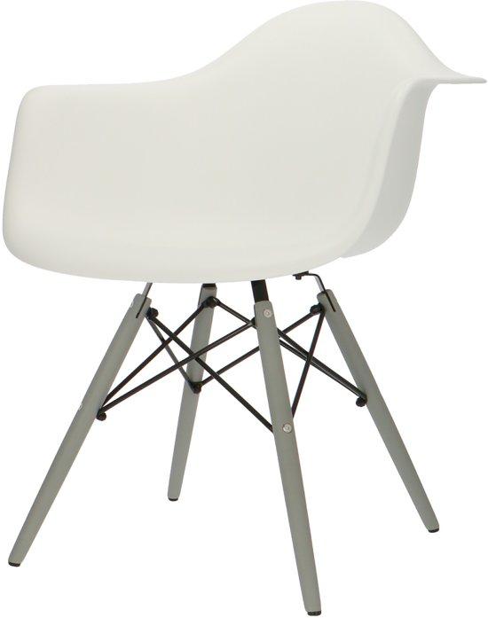 Eetkamerstoelen Designstoel Dsw Plastic Wit.Design Eetkamerstoel Daw Design Stoel Kuipstoel Grijs Onderstel Wit