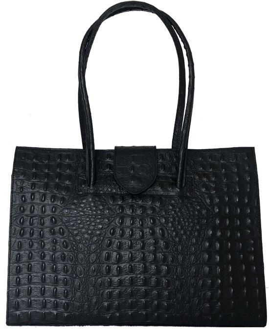 TOUTESTBELLE - Grote luxe leren businesstas met binnenvakken croco mat - Handtas - Dames - Zwart