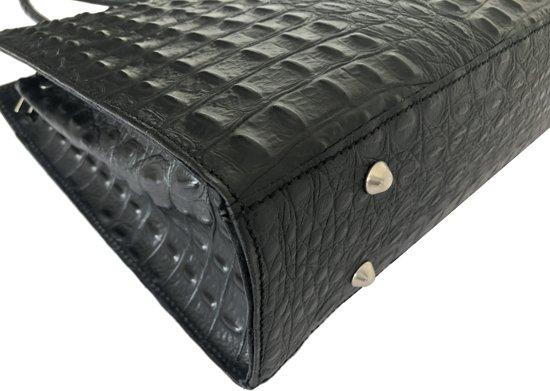 Dames Croco Grote Leren Zwart Binnenvakken Businesstas Luxe Handtas Mat Met Toutestbelle F7646