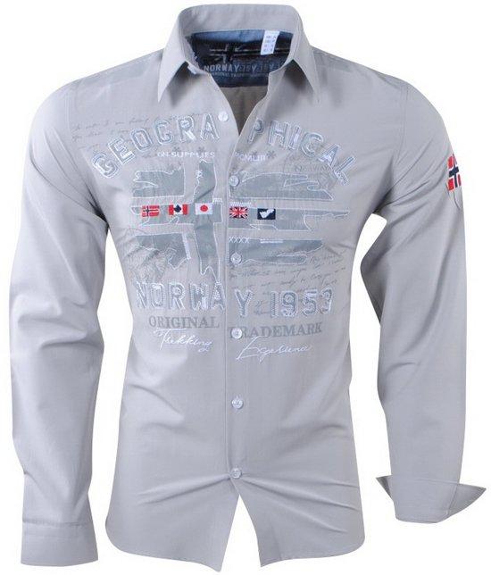 Grijs Overhemd Heren.Bol Com Geographical Norway Heren Overhemd Zolduc Slim Fit