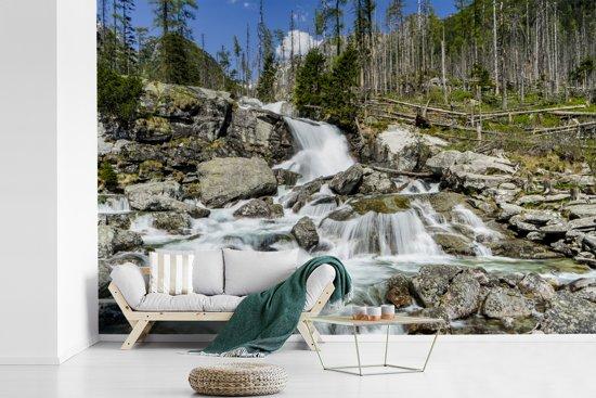 Fotobehang vinyl - Woeste waterval in een rotsige rivier in het Nationaal park Tatra breedte 450 cm x hoogte 300 cm - Foto print op behang (in 7 formaten beschikbaar)