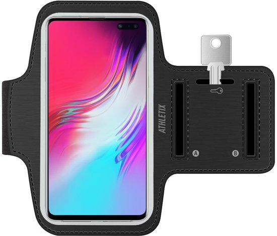 Hardloop armband met Smartphone houder - Zwarte Sportarmband voor Samsung Galaxy S10 / S10 Plus / S9 / S9 Plus / S8 / S7 / Note 9 / Note 8 / A40 / A50 / A70 - Spatwatervrij, Reflecterend, Neopreen, Comfortabel, Verstelbaar, Koptelefoon Aansluitruimte