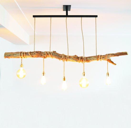 bol | houten hanglamp met kooldraad gloeilampen