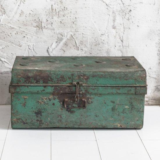 Kist Salon Tafel.Bol Com Vintage Kist Metaal Groen Opbergkist Salontafel