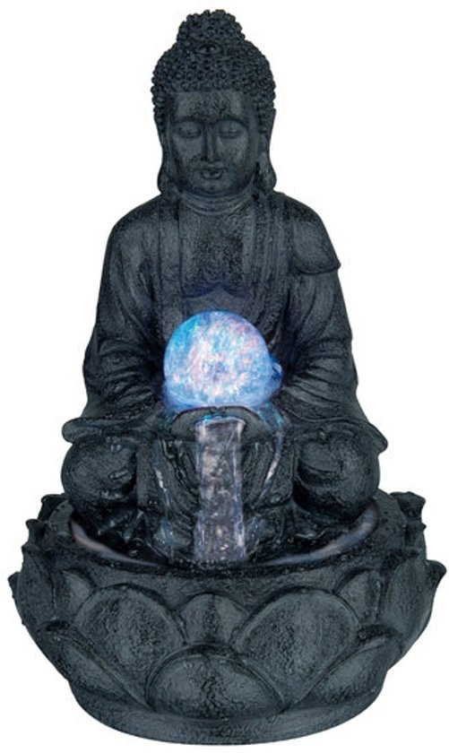 Boeddhabeeld Met Fontein.Bol Com Boeddha Met Fontein En Verlichting Donker Grijs