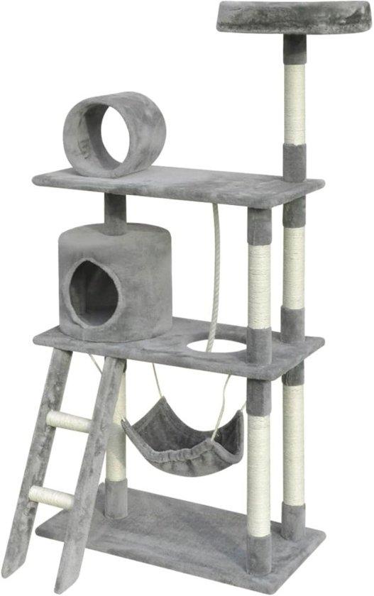 vidaXL Kattenkrabpaal 140 cm 1 huisje grijs