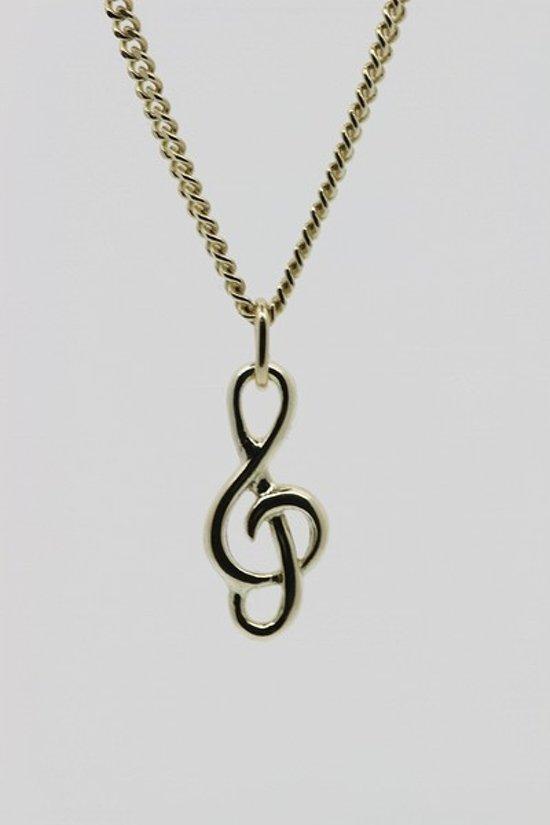 Gouden Muzieksleutel ketting hanger - klein