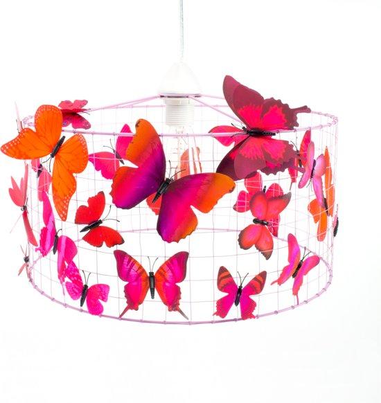 bol.com | Hanglamp met vlinders-Roze-Oud Roze-Kinderkamer-Babykamer ...