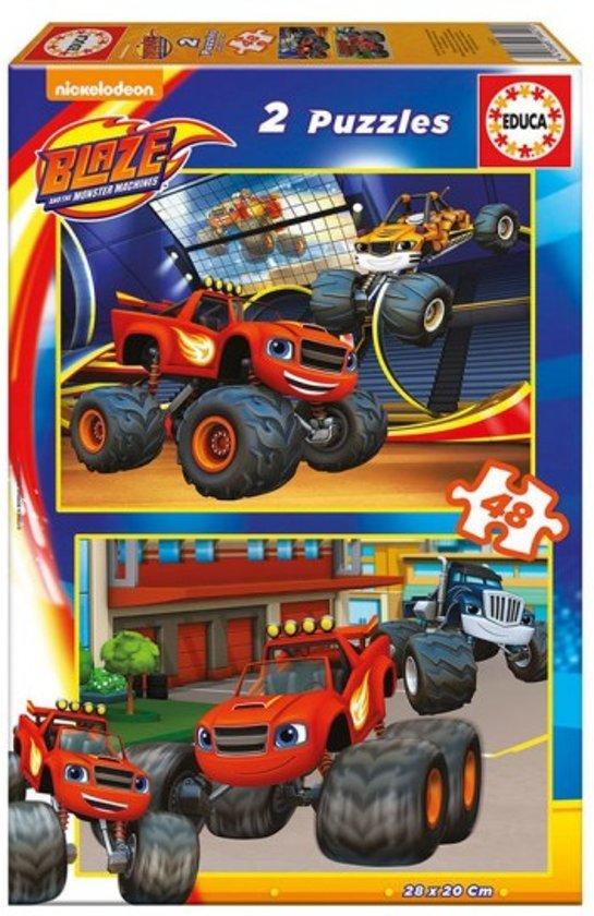 Blaze en de monsterwielen puzzel box - 2x 48 stukjes