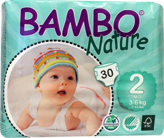 Foto van Bambo Nature Babyluiers mini 2 3-6 kg 30 stuks