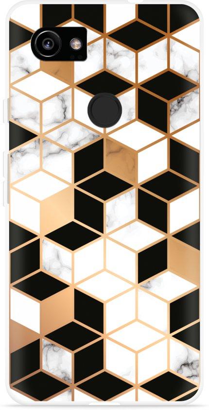 Pixel 2 XL Hoesje Black-white-gold Marble