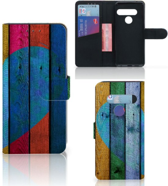 LG G8s Thinq Book Style Case Wood Heart