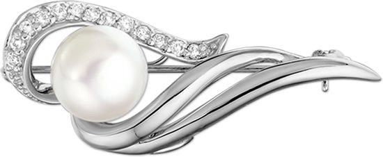 The Jewelry Collection Broche Parel En Zirkonia - Zilver Gerhodineerd