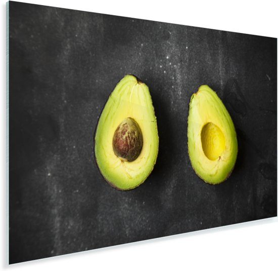 Avocado helften op een tafel Plexiglas 90x60 cm - Foto print op Glas (Plexiglas wanddecoratie)