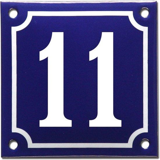 Emaille huisnummer blauw/wit nr. 11