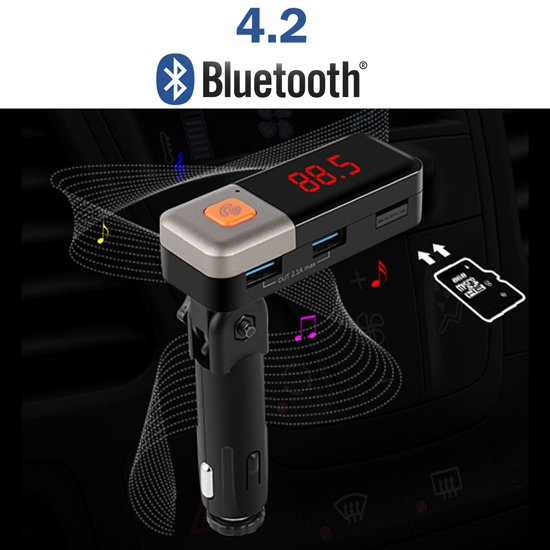 Bluetooth V4.2 handsfree carkit + FM Transmitter + 2 USB poorten + MicroSD ingang in Kootstertille / Koatstertille