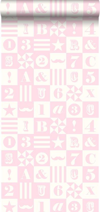 HD vliesbehang blokken licht roze - 138728 van ESTAhome.nl