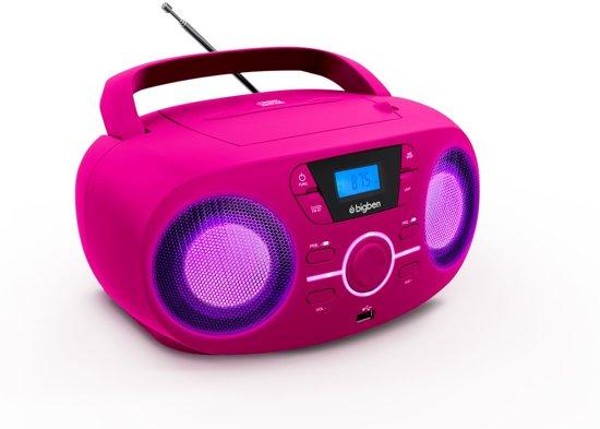 Bigben Draagbare Radio & CD-Speler met USB, MP3 en Disco LED Verlichting - Roze