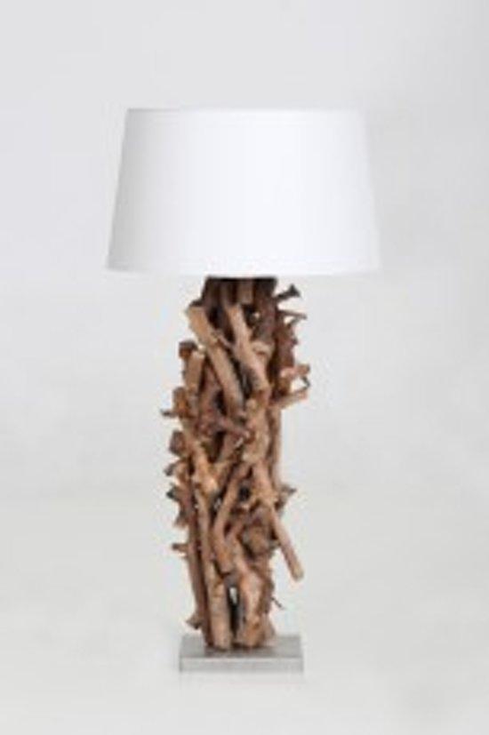 Super bol.com | Tafellamp hout brocante perentak 60 cm met witte kap MO56