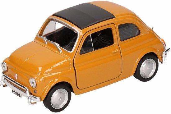 Speelgoed mosterdgele Fiat 500 classic auto 1:36