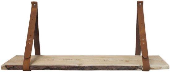 Leren plankdragers Cognac met Douglas schaaldeel