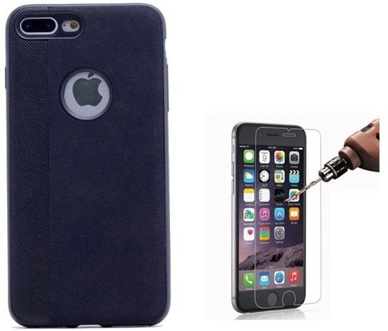 Teleplus iPhone 7 Plus Velvet Patterned Silicone Case Black + Glass Screen Protector hoesje