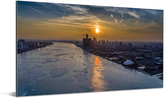 De zonsondergang langs de oevers van Detroit Aluminium 40x20 cm - Foto print op Aluminium (metaal wanddecoratie)
