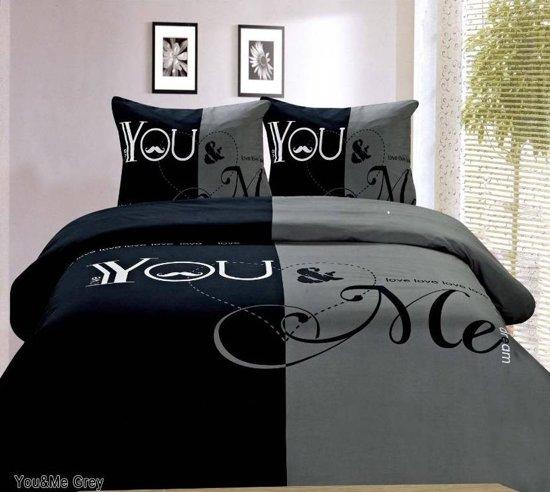Dekbedovertrek You & Me Grey 2-Persoons 200 x 200/220