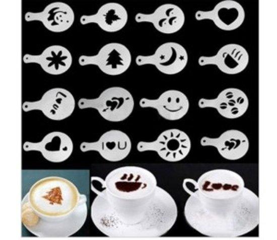 Cappuccino sjabloon - Herbruikbaar Barista Set - Cacao Sjablonen - 16 stuks