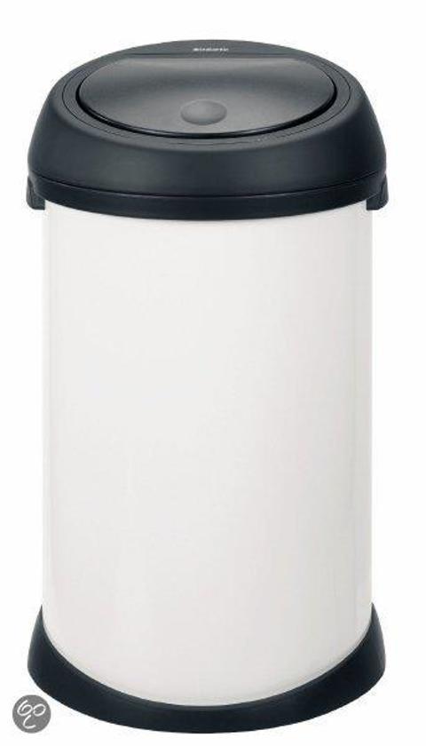 Brabantia Touch Bin Afvalverzamelaar 30 Liter.Afvalverzamelaar 50 Liter Touch Bin Met Zwarte Deksel Wit