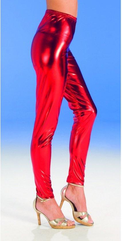Rode glimmende legging voor dames 36-38 (s/m)