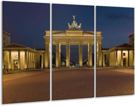 Canvas schilderij Steden | Geel, Blauw, Bruin | 120x80cm 3Luik