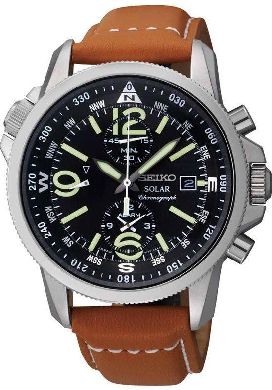 Afbeelding van Bruine Seiko SSC081P1 - Horloge - Leer - Bruin - Ø 39 mm