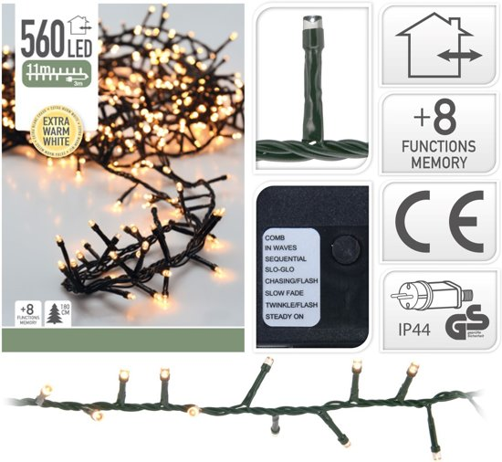 Kerstverlichting Micro Cluster 560 LED's 11 meter extra warm wit