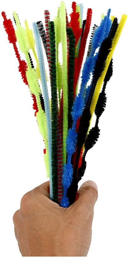 Chenille, dikte 5-12 mm, l: 30 cm, diverse kleuren, 30stuks