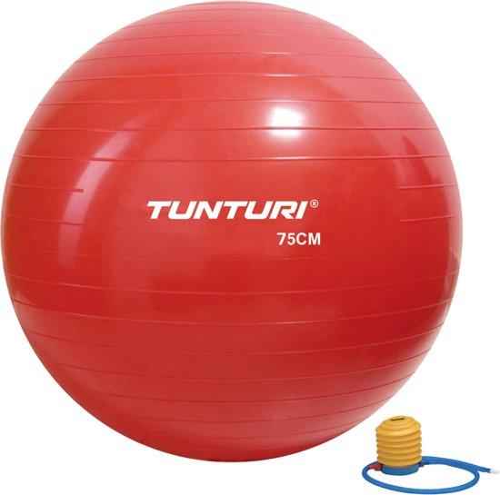 Tunturi Fitnessbal- Gymball - Swiss ball - Ø 75 cm - Inclusief pomp - Rood