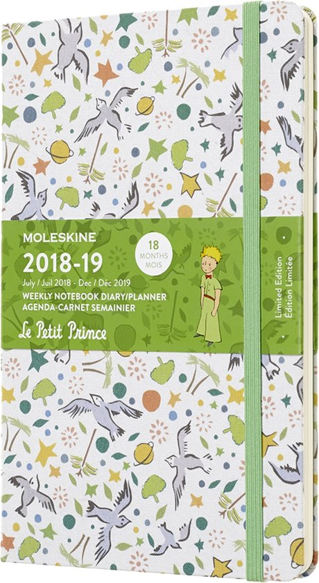 Moleskine - 18 Months - Petit Prince - Limited Edition Planner- Weekly- 2018/2019 - Large - White Pattern - Hard Cover