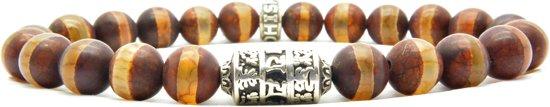 Beaddhism - Armband - Dzi Striped Brown - Mantra - 8 mm - 20 cm