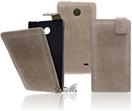 Devills Crazy Lederen Flip Case Cover Hoesje Nokia X Antiek Beige in Janssenstichting