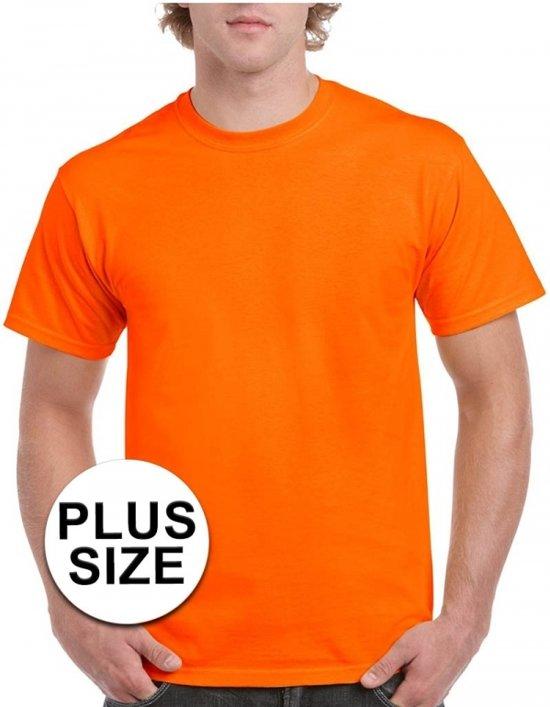 Grote maten fel oranje shirt voor volwassenen 5XL