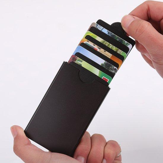 f63fc75c6ec AlwaysSafe uitschuifbare creditcard houder anti-skim, creditcard holder  RFID protect. Zwart