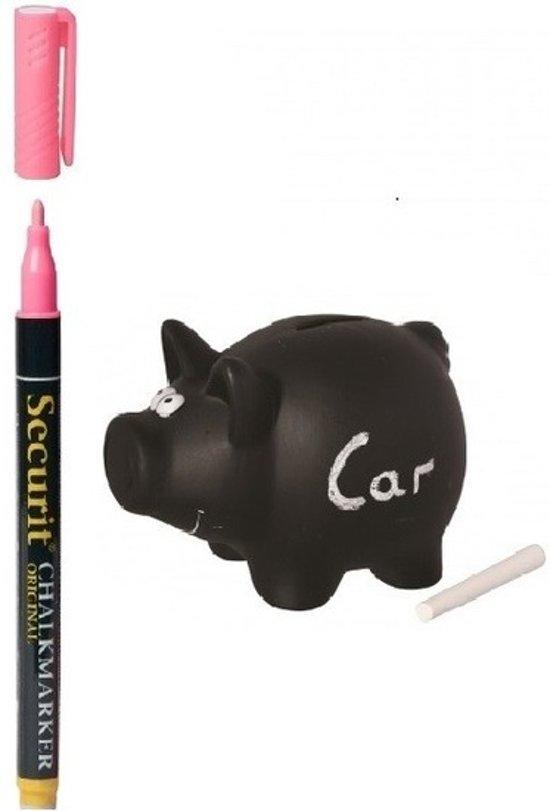 Krijtbord spaarpot/spaarvarkentje 16 cm - inclusief krijtje en roze krijtstift