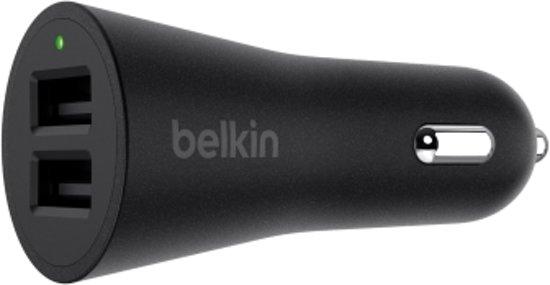 Belkin autolader met 2 poorten - 2.4A - Zwart